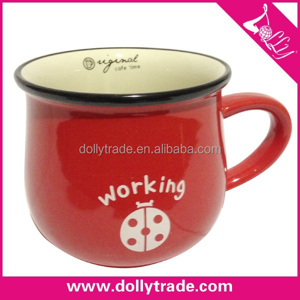 cool yiwu wholesale red color ceramic tea cup with working printed
