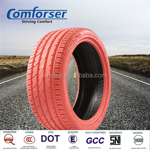 Pink colored car tires COMFORSER PCR radial passenger car tire for sale