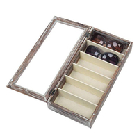Torched Wood 6 Slot Sunglasses Eyewear Display Storage Wooden Organizer Box