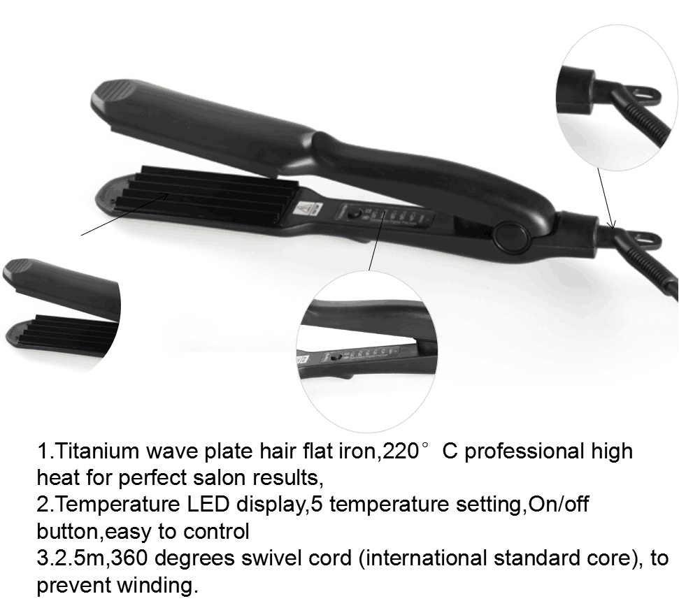 Hot in Russia titanium wave plate hair flat iron with fast shipping
