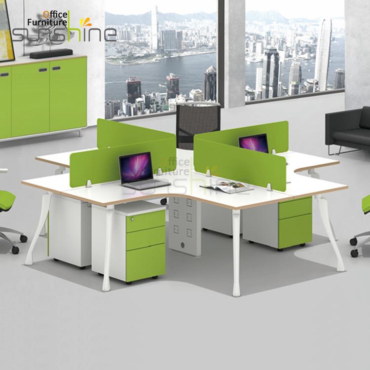 Office Workstation Cubicle 4 Seat Modular Office Desk