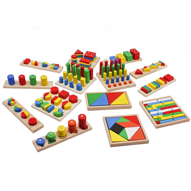 גבוהה באיכות 14 יחידות תינוק ללמד סיוע שילוב עץ מונטסורי צעצועי עבור 3 + גילים W12F033