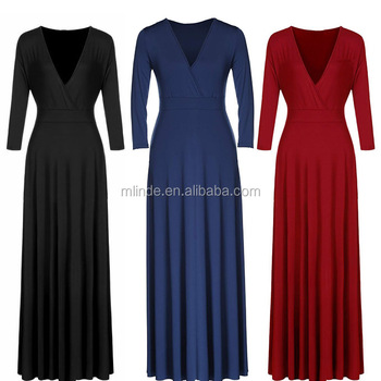 Solid V Neck 3 4 Sleeve Plus Size Evening Party Maxi Dress For Fat Ladies Buy Plus Size Evening Maxi Dress Solid V Neck Evening Dress 3 4 Sleeve