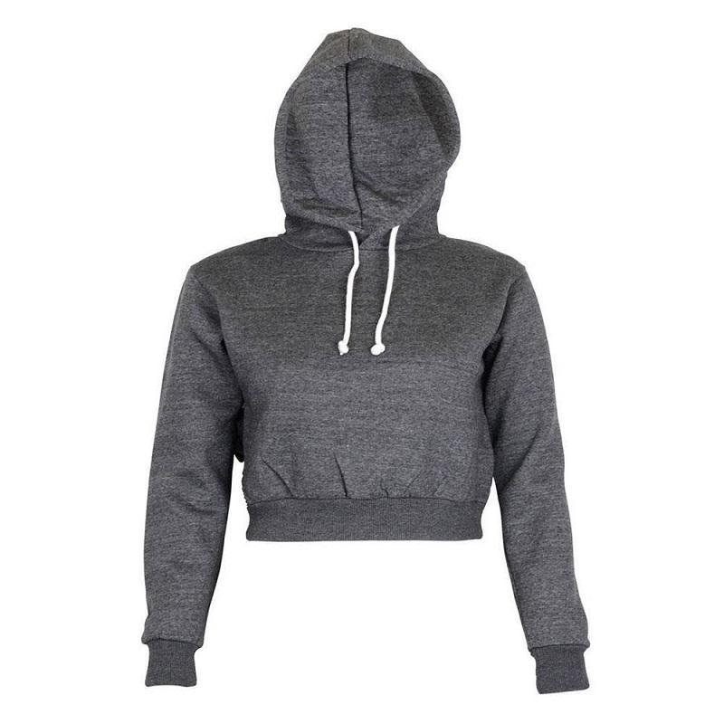 497a43b19 2019 Wholesale 2017 Autumn Womens Solid Crop Hoodie Long Sleeve ...