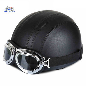 Black ABS sport leather open face pilot motorcycle helmet with high quality goggles