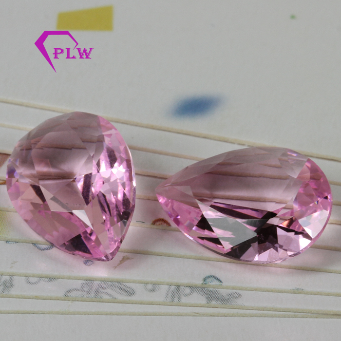 Machine cut pear cut synthetic pink clean crystal glass loose gemstone