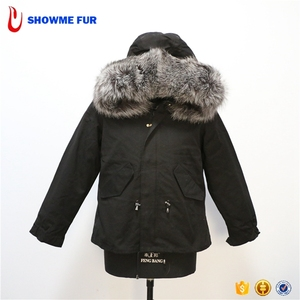 Black Out Shell Short Style Real Fur Mens Parka Jacket