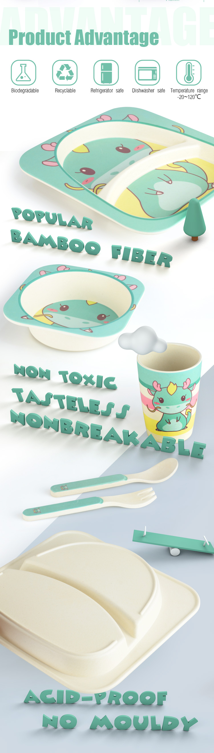 Wholesale Custom Logo Kids Cartoon Bamboo Fiber Biodegradable Dinnerware Sets
