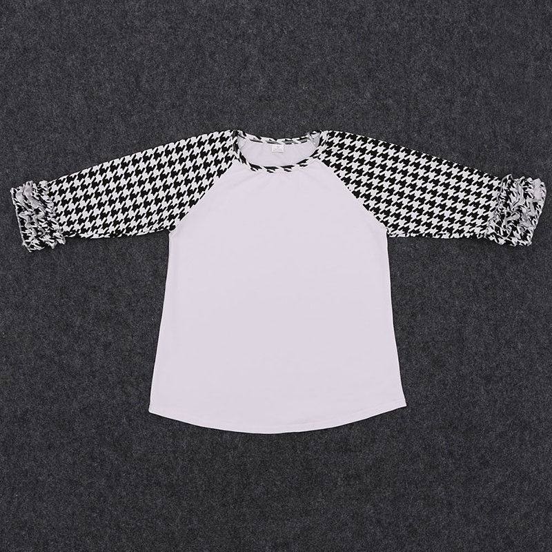 Children Boutique Clothing Baby Girls Raglan T-shirts Breathable Cotton Ruffle Tops On Sale