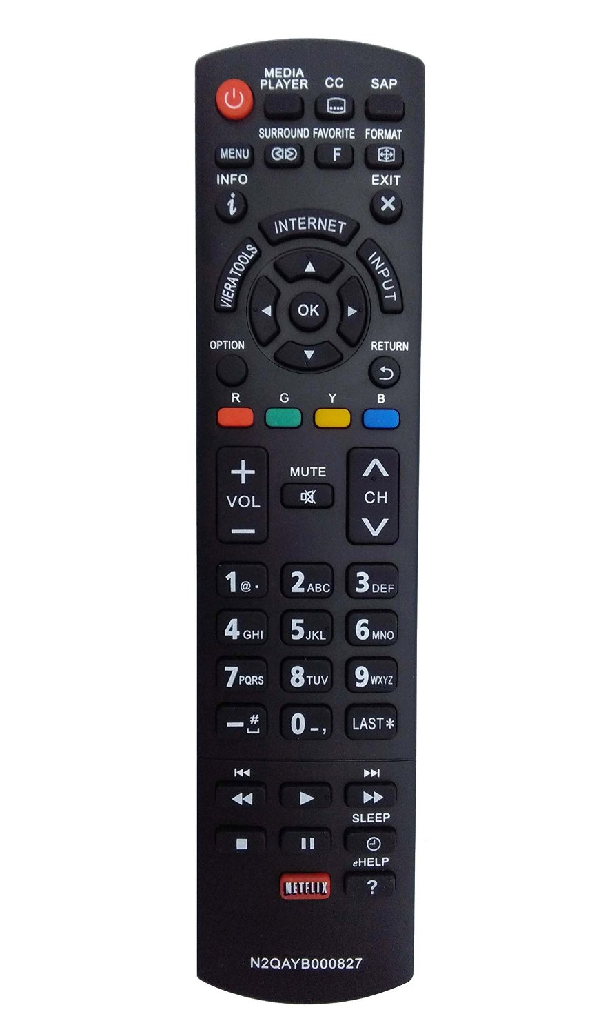 Vinabty New Replaced Remote N2QAYB000827 fit for Panasonic Plasma TVs TC-50PS64 TC-65PS64 TC-P42S60 TC-P50S60 TC-P55S60 TC-P60S60 TC-P65S60