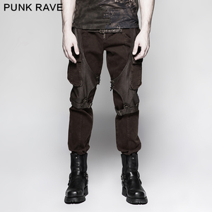 bright n colour enjoy clearance price sports shoes K-284 Steampunk coffee men's cargo pants big pockets jeans gothic clothing