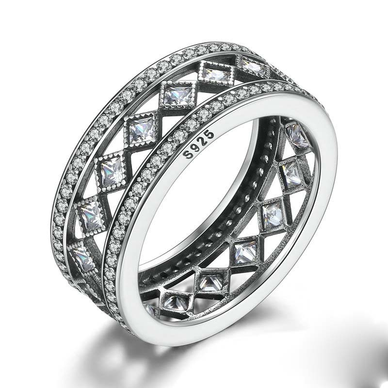 Fashion Jewelry Square Vintage Fascination Luxury Clear CZ Big Ring 925 Sterling Silver For Women