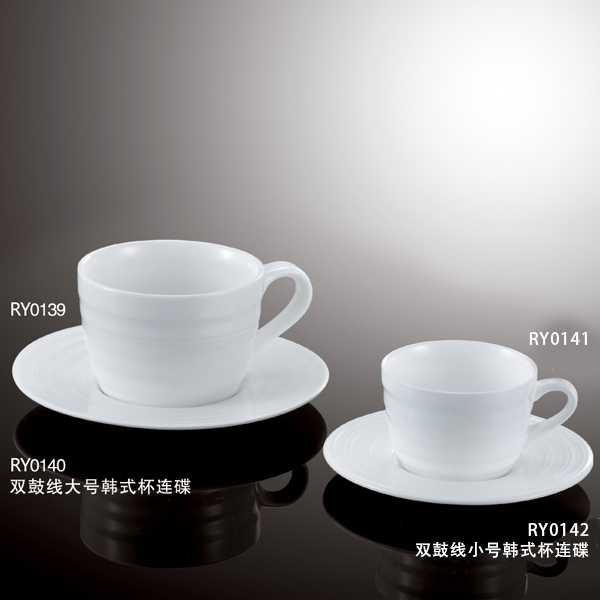 Wholesale hotel used restaurant double line design white fine porcelain coffee mug