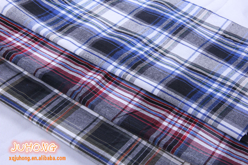 2014 blue and white checked fabric for men's casual shirt