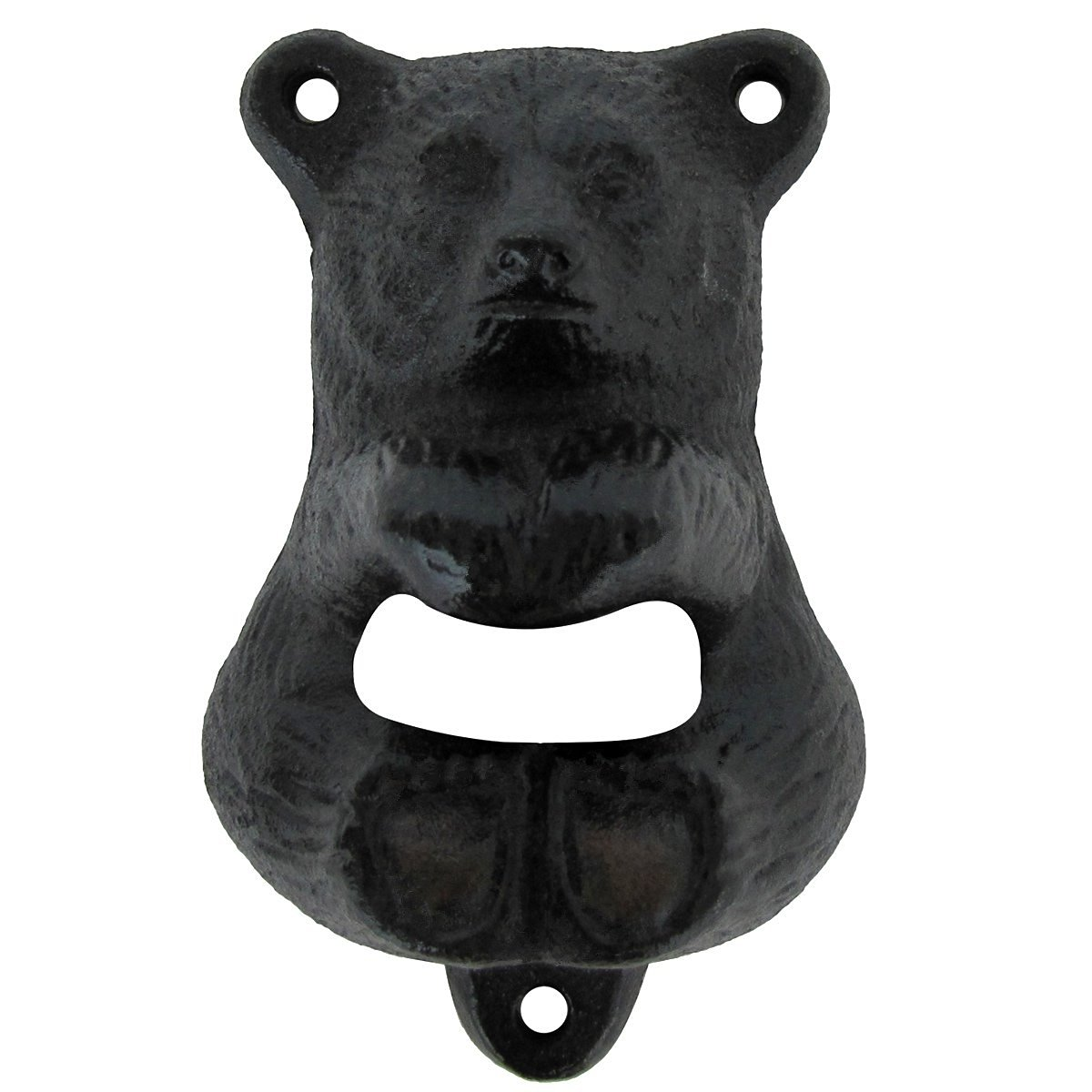 Tozz Pro /® Cast Iron Wall Mount Grizzly Bear Teeth Bite Bottle Opener Gold Bear