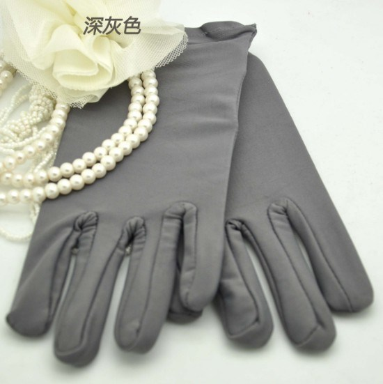 short stretch spandex Gloves Wedding bridal glove gray color