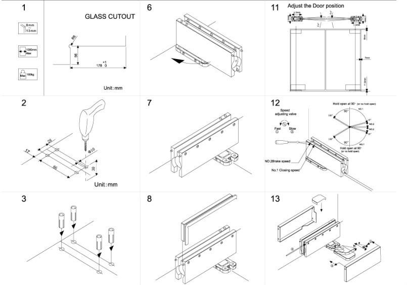 Hot Sale New Design Concealed Glass Door Floor Hinge View