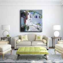 Beautiful villa and plants sample picture of canvas artwork painting