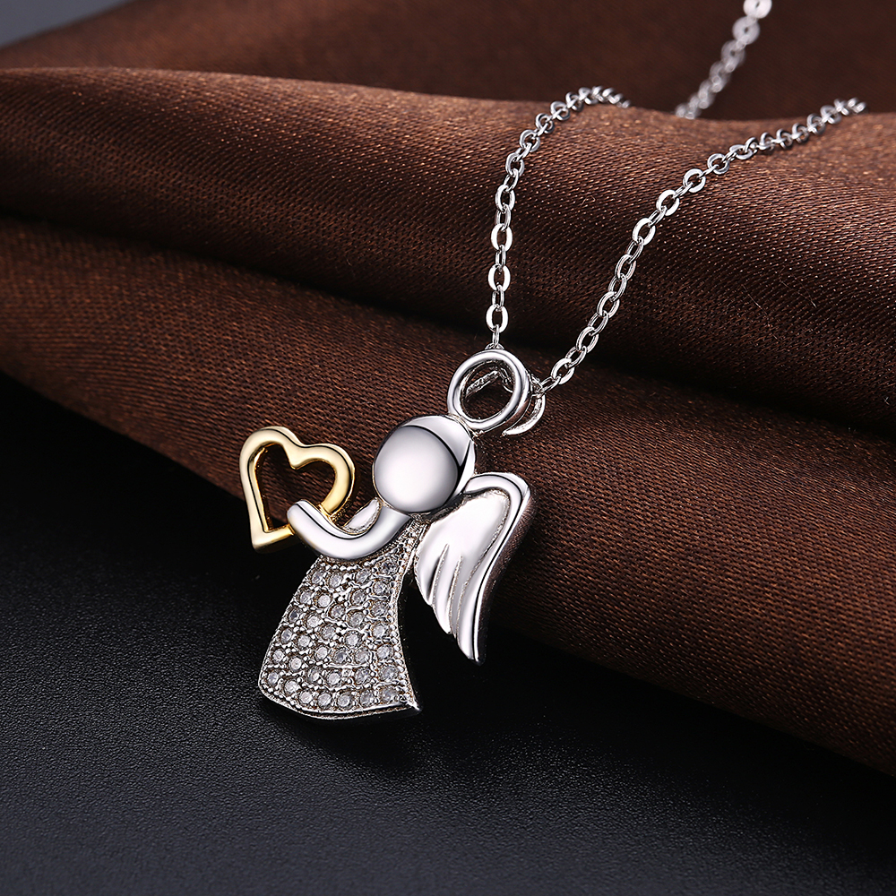 Women's 925 sterling silver angel pendant necklace