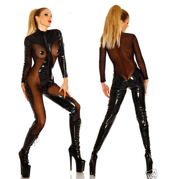c9c281e1920 Get Quotations · 2015 All New Ladies erotic Lingerie Patent Leather dress  kigurumi Catsuit Corset Bustier Black Sexy Lingerie