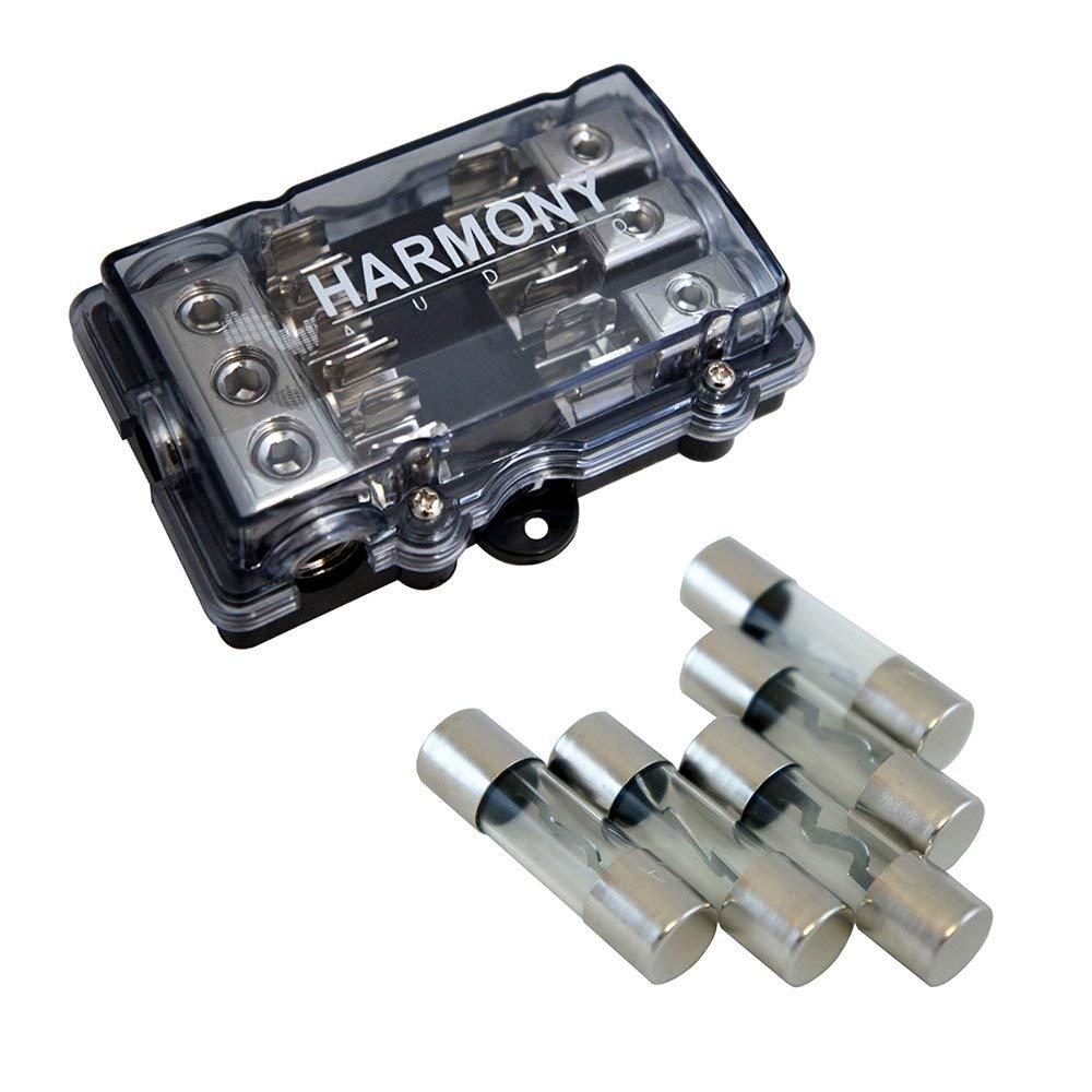 Harmony Audio HA-AGUFD3 Car 3-Way AGU Fused Distribution Block & 60 Amp Fuses