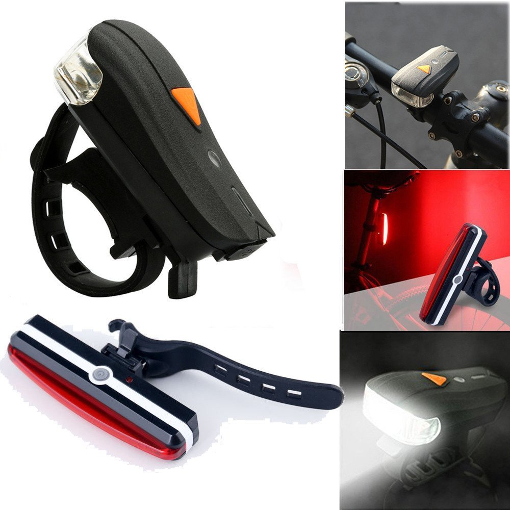 Dressffe,Waterproof USB Rechargeable Led Bike Light Set, USB Rechargable Bike Front Light + USB Rechargable Bike Rear Light