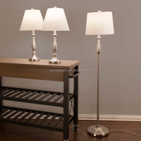 Satin Nickel Brushed Steel 3-Piece Floor and Table Lamp Set