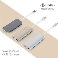 Promotion USB-C Type C Multiport Adapter Charging 8 ports hub usb 3.0 with 4K HDMI Rj45 Ethernet for Macbook 12
