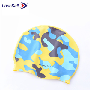 Funny printed silicone cool swim cap for kids colorful small baby children swim hat