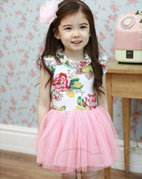 cheap wholesale 2015 spring girls rose dress joint pink tutu skirt for girls princess lace dress