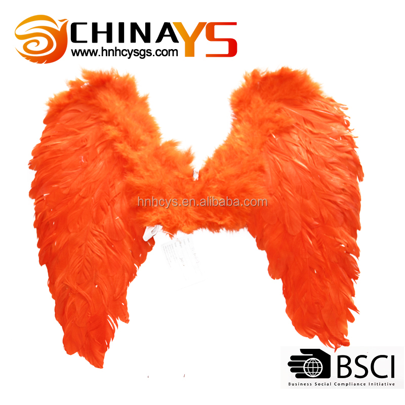 50*50 YS8016 Orange Angel Fairy Feather Wings Halloween Fancy Dress Costume Accessory Feather Wings On Promotion