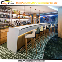 Eat-drink curved shape design solid surface bar counter styles