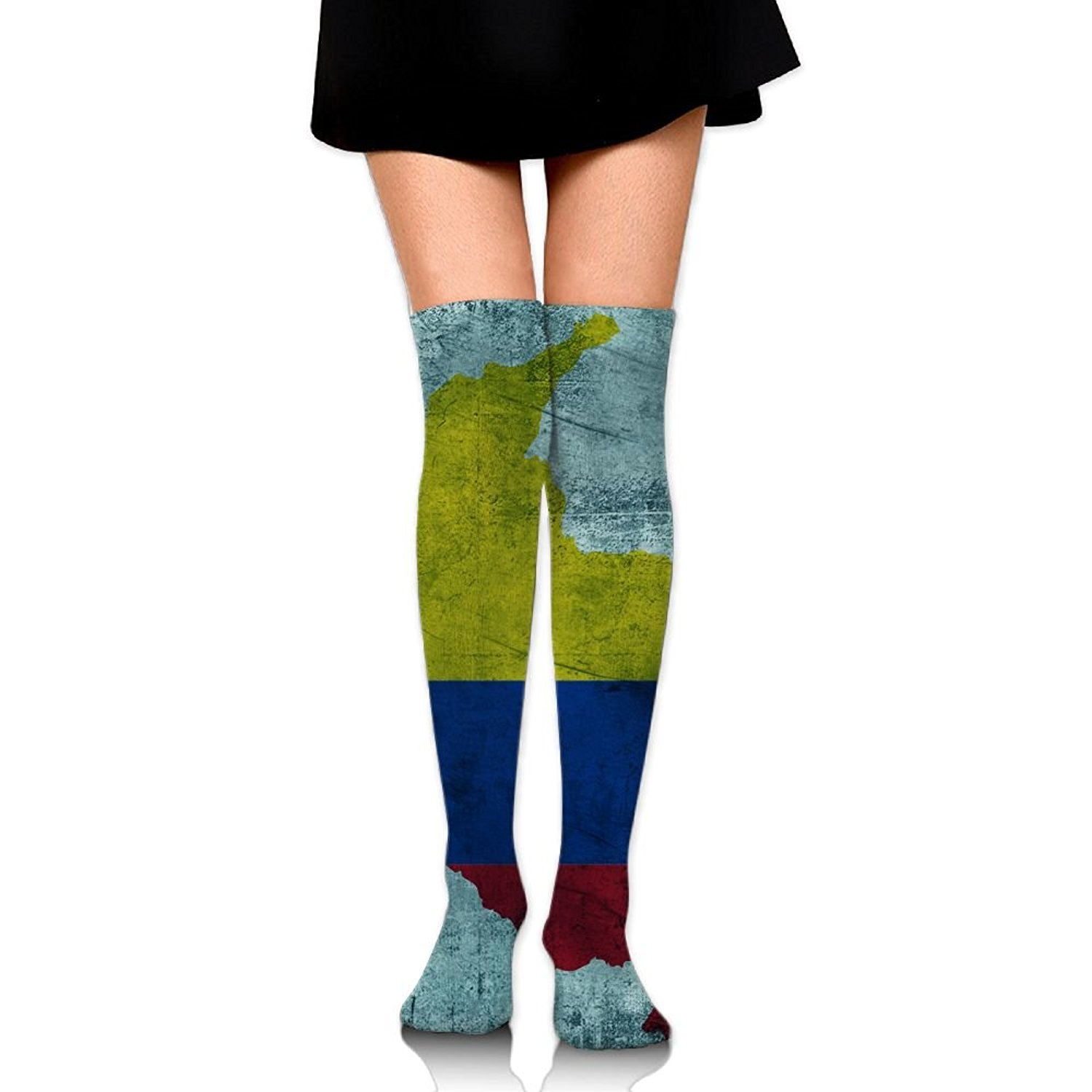 SOURCE POINT Womwn's Long Socks Vintage Colombia Map Printing Stocking Sexy Knee High Socks