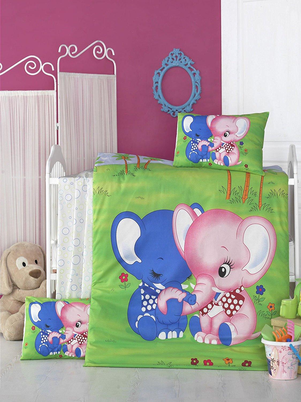 LaModaHome 5 Pcs Baby Jungle Elephants Pink Blue Love Nature Flower Toddler Cotton Bedding COTTON COMFORTER Set, Turkey 100% Cotton Nursery [with COTTON Quilt/Comforter]