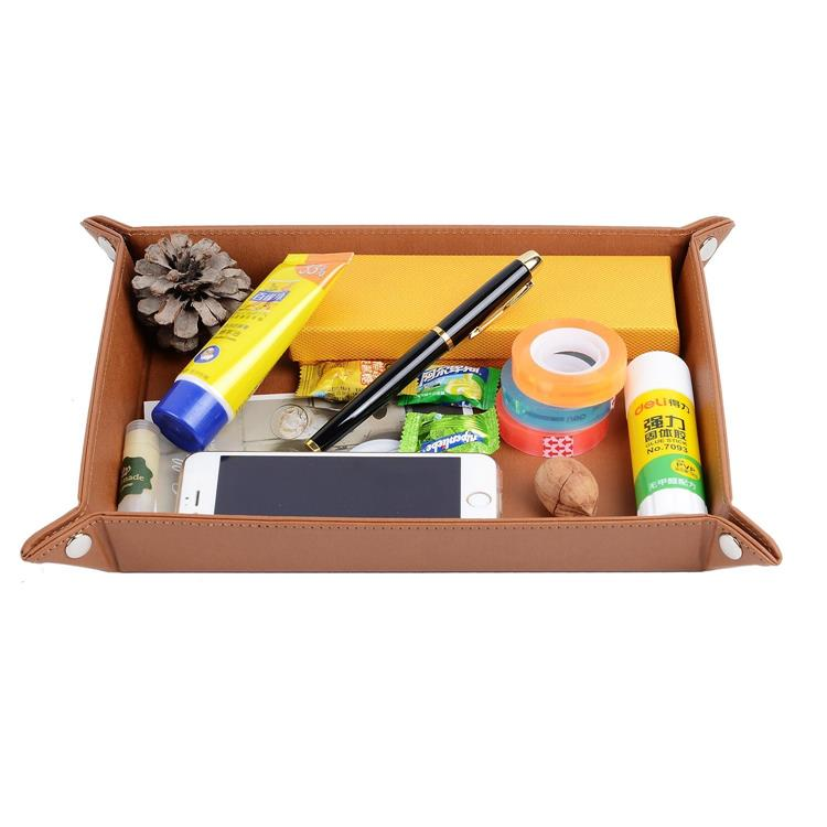 PU Leather Storage Tray Pack Flat Cable Salver Valet Desk Trays