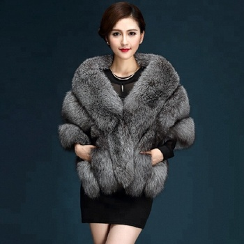 New design fashion warm faux fur shawl wedding bride cape