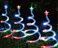 Set of 4 Solar LED Spiral Trees MultiColour christmas light decoration