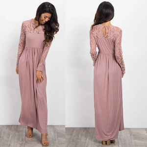 Summer Women Lace Neck Clothing Long flowy Pink Long Sleeve Maxi Dress