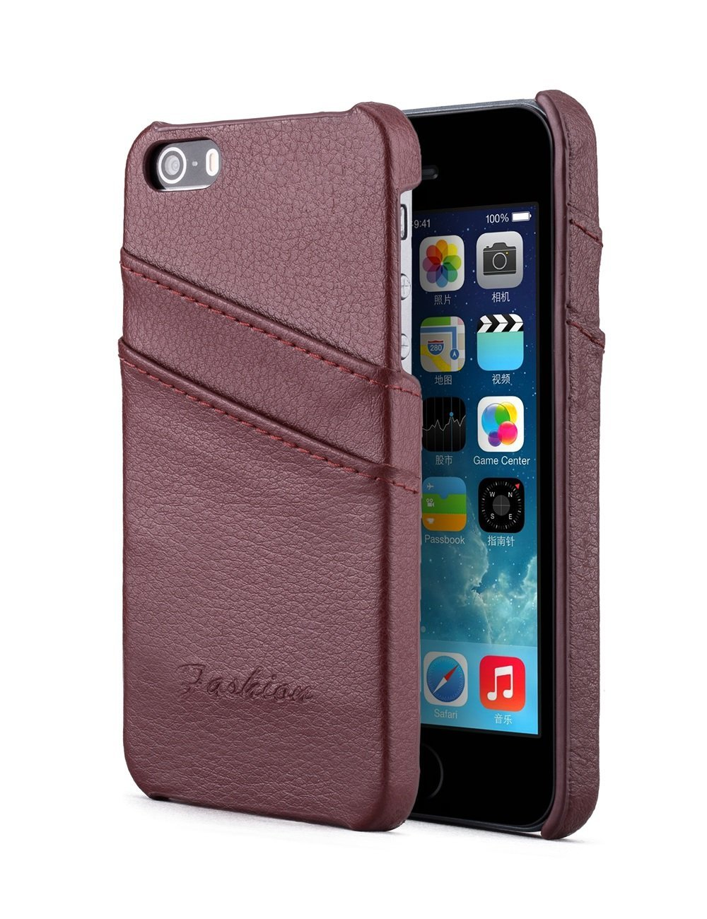 iPhone 5/5s/5SE Case, Nvwa Apple iPhone 5/5s/5SE Case Premium Genuine Leather Wallet Case with Card Holders for iPhone 5/5s/5SE -Brown