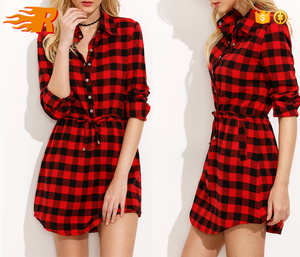 2017 China Factory Supply Ladies New Fashion Red Plaid Shirt Dress