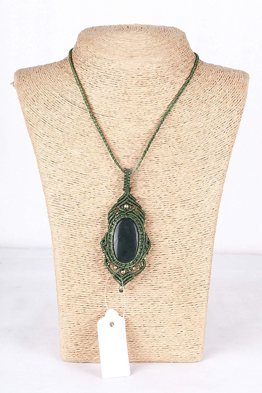 Handmade Macrame Necklace Chick. Pendant Jewelry Aventurine Cord Bohemian