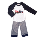 Baby Boutique Boys Heart Applique Long Sleeve T Shirt Seersucker Pants Valentines Toddler Clothing Set Kids Wear Clothes