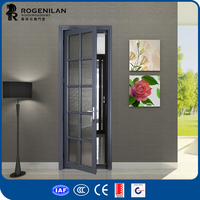 Rogenilan decorative aluminum frame glass swing bathtub door