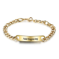 Rose gold plated curb chain link Stainless steel custom laser engrave Bracelet