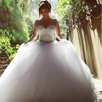 NE312 Luxury High-end sleeved Wedding Dresses 2018 With lace Beads Ball Gowns Custom Size Bridal Gown Vestidos