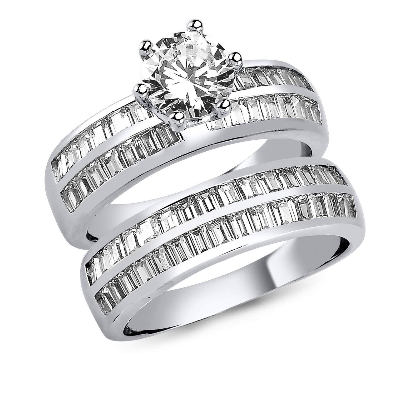 Engagement & Wedding Fine Jewelry New Fashion Brilliant Cut Birthstone Wedding Sterling Silver Clear Baguette Cz Fashion Ring