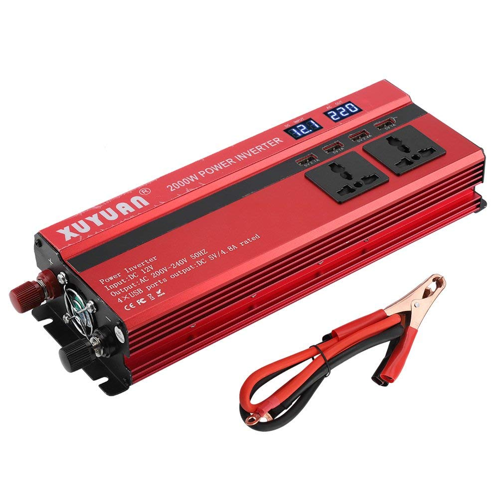 1000w Red Vehicle Dc12v-ac220v Led Power Inverter Converter 4usb Ports Universal Controlador Atv,rv,boat & Other Vehicle