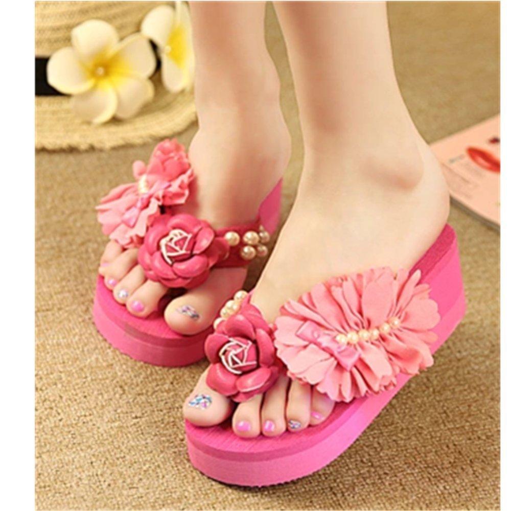 KAKA(TM) Women's Fashion Rhinestone Glitter Studded Crystal Flower Thong Sandals Flip Flops Sandals£¨Rose red£-7
