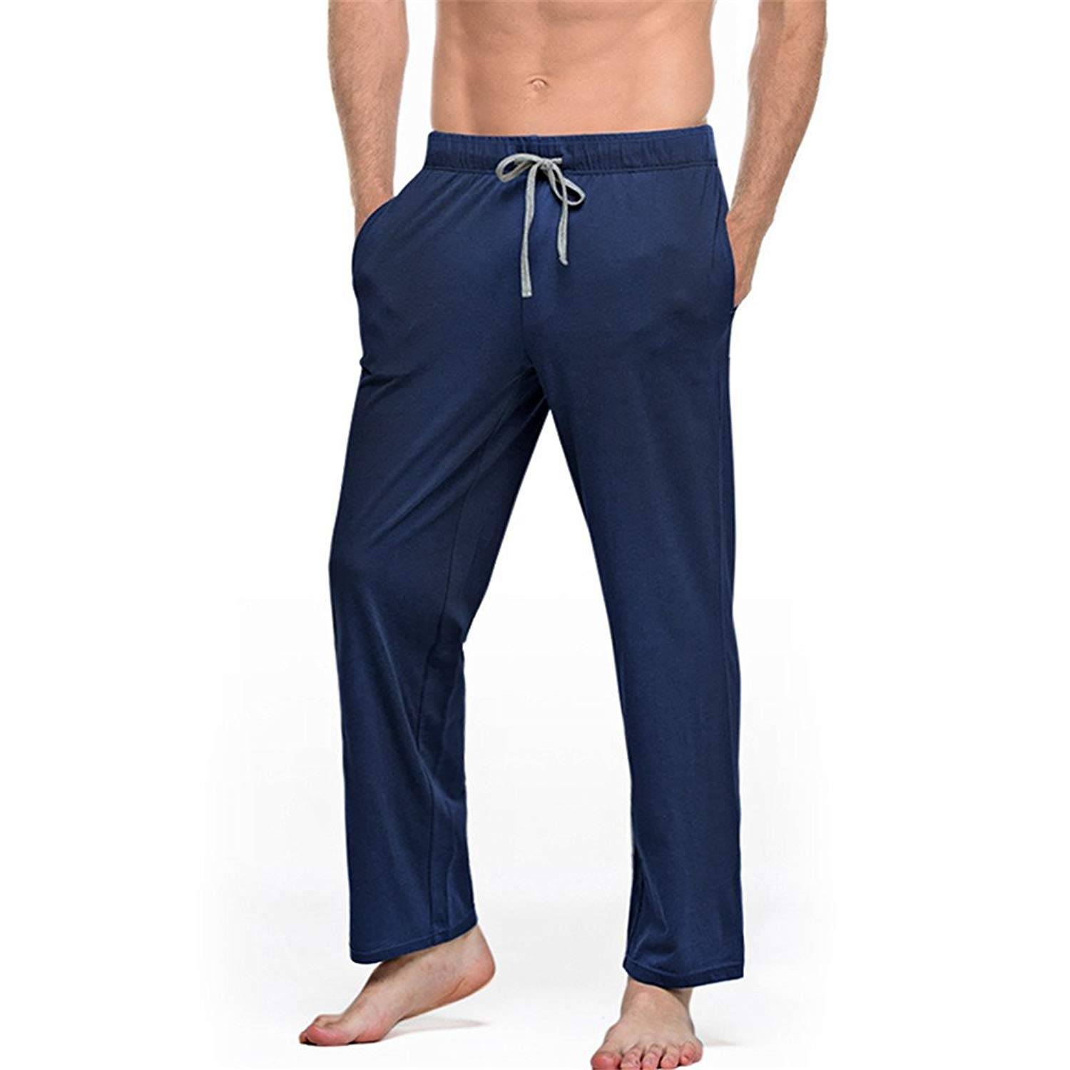 7299f5e926a5 Get Quotations · XIANGYANG Mens Cotton Sleep Bottoms String Loose Pijamas  Pants Breathable Lounge Pants