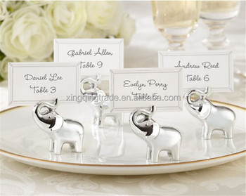 "Wedding favor and souvenir--""Lucky in Love"" Silver - Finish Lucky Elephant Place Card Holders"